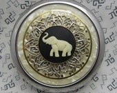 elephant compact mirror with protective pouch - compact mirror gift - pocket mirror - compact mirror gift for brides- maids - hostess gift