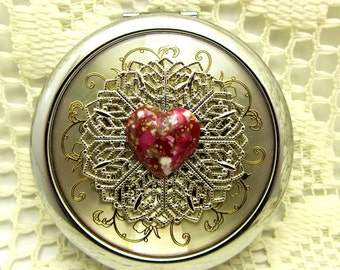 Heart Compact Mirror Have A Heart Comes With Protective Pouch Valentine Day Gift