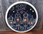 Robot Family Love Plate