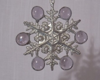 Stained Glass Silvery Lavender Snowflake Sun Catcher Christmas Ornament