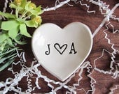 Personalized heart dish, Monogrammed ring holder, Wedding gift, ring holder dish, heart jewelry dish, commitment ceremony