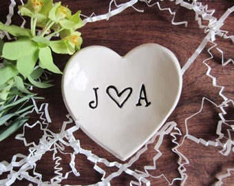 Personalized heart, Monogram ring holder, Wedding gift,  ring dish, heart jewelry dish, commitment ceremony