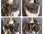 Hand knit Split Shag Cowl, Couture Neutral funky cowl, Fringed Design with handspun hand dyed wool sheep curl fibers, funky scarves, boho