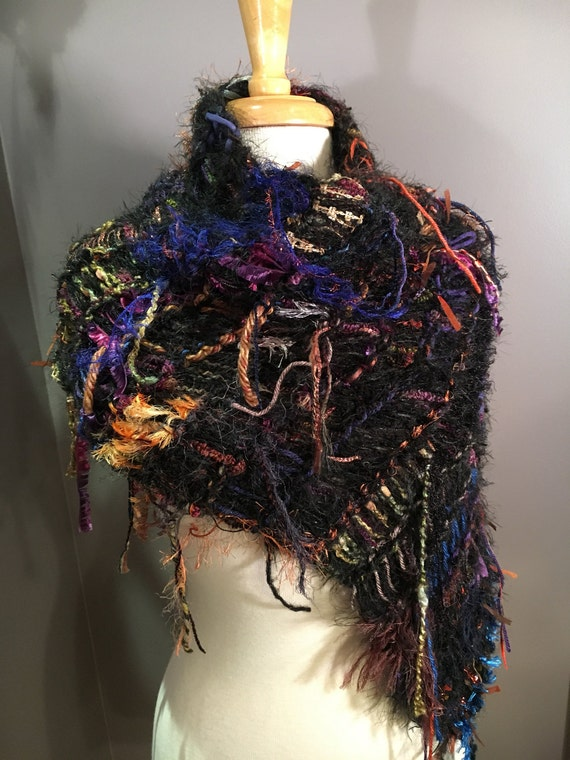 Handmade Artistic Poncho or wrap with fringe, Art scarves, Shades of Shanghai, Knit tapered, jewel toned poncho, black rainbow