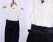 "SALELAND / 1980s dress vintage 80s colorblock modern black white party dress XS W 26"""