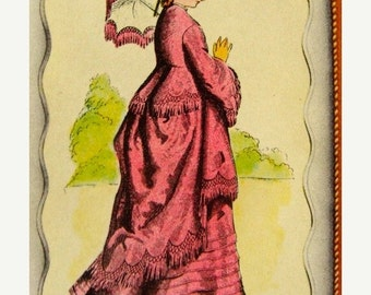 ON SALE 3 Gorgeous Antique Paris France Edwardian Lady Stunning Signature Trade Playing Cards for Altered Art