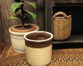 Dollhouse Miniature Crock Pot Country Cream Brown Planter