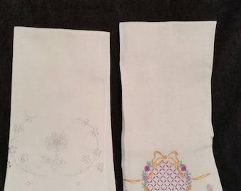2 vintage tea towels