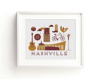 Nashville Letterpress Art Print