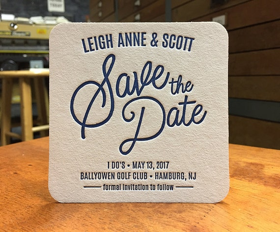 Save the Date letterpress coasters - CUSTOMIZED