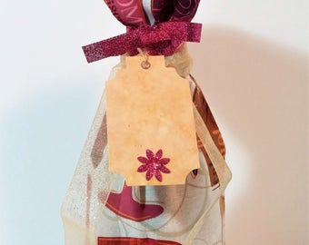 All Occasion Wine Bag with Ribbons and Announcement Tag, Stocking Stuffer, House Warming Gift, gift basket item