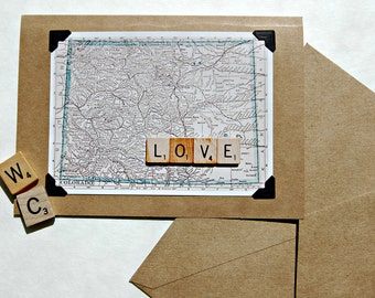 Vintage map scrabble tile handmade Love Valentine Wedding Engagement Colorado greeting card