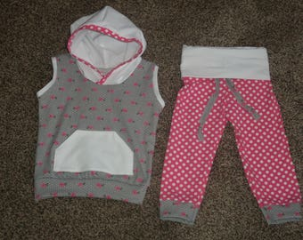 Spring //Baby Girl Outfit// Yoga Pants and Sleevesless hoodie//Pinks and Grays