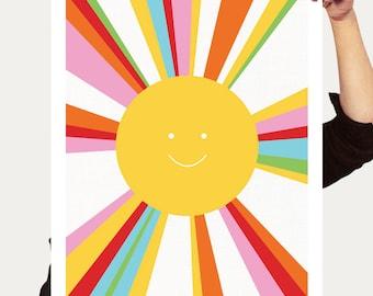 rainbow sun print - colourful decor kids nursery art, children baby girl boy gender neutral yellow multicoloured art bright artwork poster