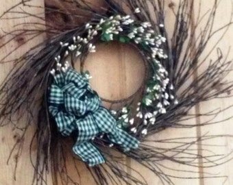 Wreath, Winter, All Seasons, Rustic, Primitive, Country Look
