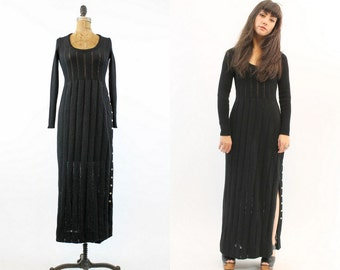 70s Dress Knit XS Small / 1970s Vintage Dress Maxi Sweater / The Joplin Dress