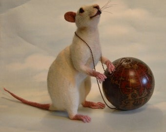 "Weight of the World White Lab Rat  ""Rats Rule"" Series Collection Life Size OOAK Artist Needle felt Sculpture by Stevi T.    Free Shipping"