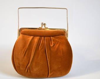 Vintage Brown Velvet Handbag with cool gold rectangle handle // 60s clutch mod