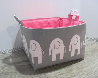 SALE Fabric Diaper Caddy - Storage Container Basket - Organizer Bin - 10 x 10 x 6 - Bucket- Baby Gift - Nursery - Grey elephants - RTS