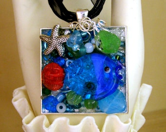 Nautical FISHY Sea glass Mosaic Collage Pendant Necklace-One of a Kind, Artist Signed
