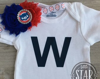 Chicago Cubs Baby Gift - Fly the W Tee - Chicago Cubs Onesie and Bow Set -Cubs Kids Gift - Cubs W Onesie - Cubs Hair Bow - Cubs Kids