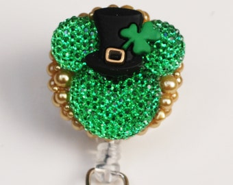Special Order For Rosa Vallado St. Patricks Day Mickey Mouse ID Badge Reel - Retractable ID Badge Holder - Zipperedheart