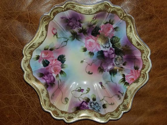 Antique Edwardian hand painted signed Nippon porcelain large bowl roses flowers