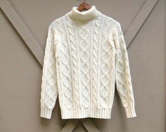 70s/80s vintage Ivory White Acrylic Cable Knit Turtleneck Fisherman's Sweater