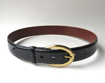 Coach vintage Polished Black Leather Belt / made in the U.S.A.