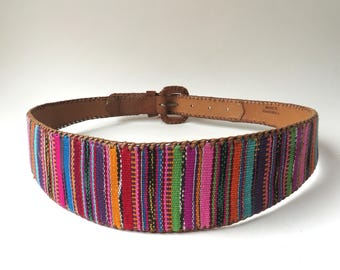 Lands' End vintage Colorful Wide Guatemalan Patterned Woven Cotton and Caramel Brown Leather Belt