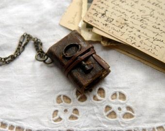 The Little Wanderer - Miniature Wearable Book, Dark Brown, Tiny Vintage Key. OOAK