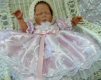 DRESS for NEWBORN or REBORN Doll Pink 3d Floral  Victorian Pageant Baptism Wedding
