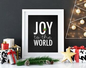 Joy to the World Print, Christmas Print, Digital Print, Merry Christmas, printable quote, Christmas Decor, Chalkboard Print
