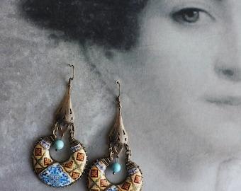 Portugal  Antique Azulejo Tile Replica Chandelier Earrings 1891, ORANGE and Blue Ovar Murtosa and Espinho (see actual Facade) Bohemain Boho