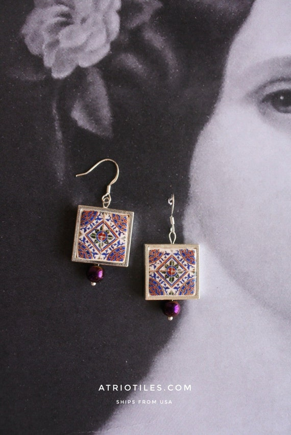 Silver Earrings Portugal Tile Azulejo Portuguese Antique  Mosaic Murtosa Purple Persian Arab Mosaic Gift Box Included Ships from USA 797