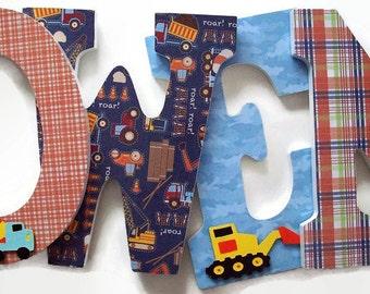Truck Wood Letters - Trucks Nursery Letters - Boys Construction Truck Bedroom Wall Letters - Boys Birthday Gift - Bedroom Decor Wall Art
