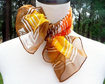 "Vintage Striped Chiffon Scarf by Burmel, Japan - Fall Colors, Brown, Yellow, Orange 21.5"" x 22.5"""