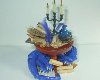 dollhouse Witch miniatures dragon table set ooak wizard herb garden