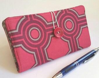Magenta Red Gray Checkbook Cover in a Modern Geometric Print