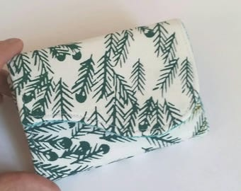 Business Card Wallet in Hand Printed Fabric - Forest Needles