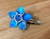 Blue Watercolor Titanium Scale Flower Barrette