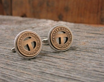 Coin Jewelry - Transit Token Jewelry - Men's Cuff Links - Gift for Man - Community Traction Co of Toledo Ohio Token Cuff Links - Initial T