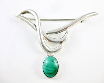 Vintage  Sterling Silver Green Malachite Abstract Brooch Pin