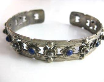 Antique 800 Silver Peruzzi Florence Lapis Cuff Bracelet