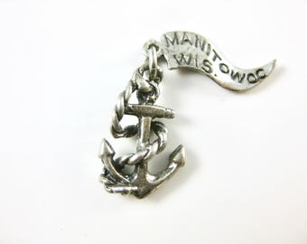 Vintage Anchor w/ Rope Sterling Silver Charm Manitowoc Wisconsin