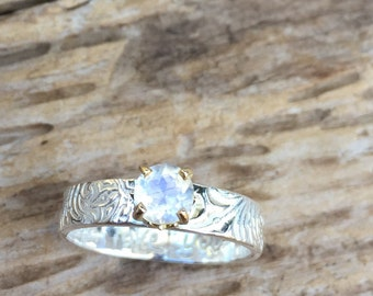 moonstone engagement ring with engraved band . alternative engagement ring . prong set moonstone ring . ready to ship size 6