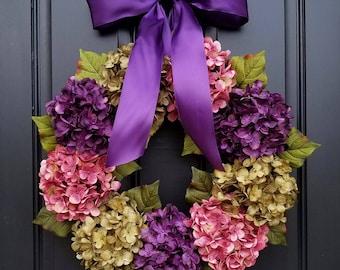 Hydrangea Wreaths, Summer Wreaths, Summer Hydrangea Wreaths, Summer Porch Wreaths, Pink Hydrangeas, Green Hydrangeas