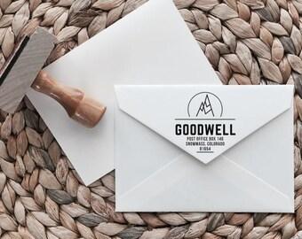 Custom Return Address Stamp | Peak Style | Wood with Handle or Self Inking