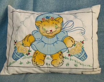 Hand Embroidered Cotton Kitten Throw Pillow