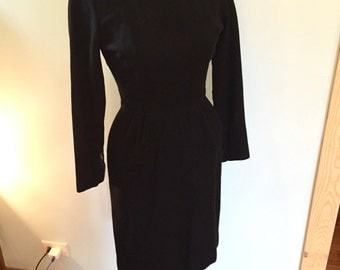 XS Little Black Dress 1950's Wool Wiggle Dress Understated Beatnik